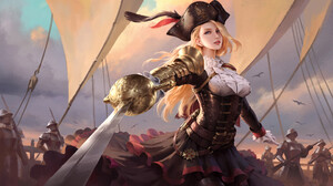 Wenfei Ye Drawing Pirate Hat Pirates Women Blonde Long Hair Wind Armor Gold Skirt Weapon Sword Looki 1920x1148 wallpaper