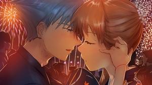 Girl Boy Fireworks 2000x1500 Wallpaper