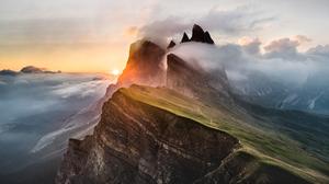 Landscape Mountains Cliff Nature Clouds Sunset Sky Horizon 2560x1440 wallpaper