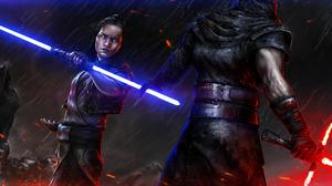 Kylo Ren Lightsaber Rey Star Wars Star Wars Star Wars Episode Vii The Force Awakens 3360x1440 Wallpaper