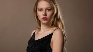 Black Dress Blonde Blue Eyes Girl Lipstick Long Hair Model Woman 2048x1536 Wallpaper