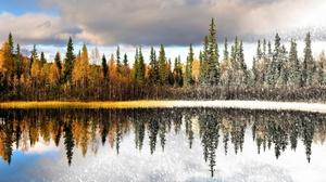 Artistic Fall Lake Reflection Season Snowfall Tree Winter 2455x1689 wallpaper