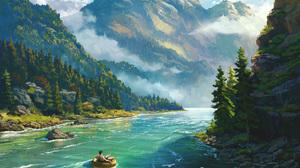 Digital Art Landscape River VSales Mountains 2400x2400 Wallpaper