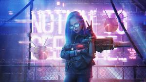 Cyberpunk Futuristic Girl Gun Neon Weapon Woman 3840x2160 Wallpaper