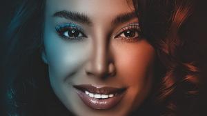 Arlamovsky Dark Background Brunette Eyes Retouching Hair Blue Light Red Light Colorful Teeth Portrai 1333x2000 Wallpaper