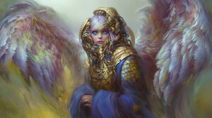 Marina Zautorova Angel Women Angel Wings Blue Eyes Looking Away Wings Digital Art Drawing White Hair 1820x1104 Wallpaper