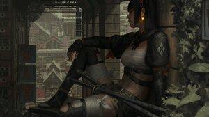 GUWEiZ Digital Art Digital Painting Artwork Fictional Character Katana Sword Cigarettes Women Sarash 4096x2560 Wallpaper
