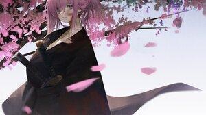 Anime Anime Girls Artwork Miyamoto Musashi Fate Grand Order FGO Fate Series Dokshuri Pink Hair Japan 4096x3151 Wallpaper