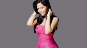 Women Model Smiling Dark Hair Hands In Hair Pink Dress Studio Indian Model 2880x1800 Wallpaper