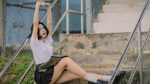 Asian Model Women Dark Hair Depth Of Field Sitting Railings Leaning Black Skirts White Shirt Short H 1920x1280 Wallpaper