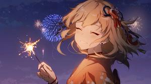 Anime Girls Video Game Girls Video Games Anime Blonde Kimono Fireworks Smiling Genshin Impact Yoimiy 5760x3240 Wallpaper