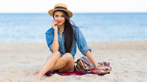 Women Outdoors Model Beach Red Lipstick Shorts Straw Hat Hand On Face Brunette 5376x3584 Wallpaper