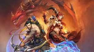 Bow Dragon Hanzo Overwatch Overwatch Sorceress Warrior 4301x2419 Wallpaper