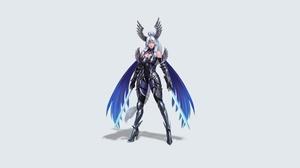 Girl Woman Warrior Sword Wings White Hair Braid 6000x3000 Wallpaper