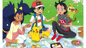 Ash Ketchum Barefoot Black Hair Blue Eyes Boy Brown Eyes Cap Food Girl Go Pokemon Grookey Pokemon Ir 2048x1295 wallpaper