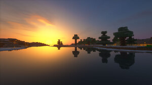 Minecraft Shader Shaders Sunset Reflection Snow 1920x1080 wallpaper