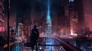 Sci Fi City 3661x1822 wallpaper