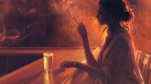 Alone Artistic Bar Girl Painting Smoking Woman 3000x2121 Wallpaper