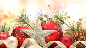 Bauble Christmas Decoration Golden Red Star 3257x2228 Wallpaper