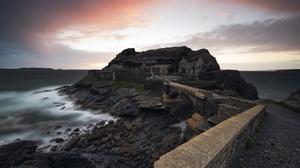 Sunset Coast Rock France Brittany Saint Malo Bridge Fort 2048x1367 Wallpaper