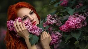 Face Flower Lipstick Red Hair Brown Eyes 1920x1081 Wallpaper