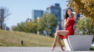 Urban Women Outdoors Sitting Bench Legs Tiptoe Dress Red Dress Arms Up Looking Up Women Model Brunet 2560x1707 Wallpaper