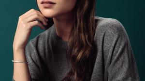Alicia Vikander Women Actress Indoors Brunette Long Hair Sitting Studio Simple Background Swedish 898x1333 wallpaper