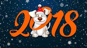 Chinese New Year Dog New Year 2018 Santa Hat Snowflake 1920x1200 Wallpaper