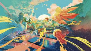 Digital Art Fantasy Art Fish Clouds Smoke City Jellyfish Ice Cream Mushroom Horse Robots Whale Moon  3000x1688 Wallpaper