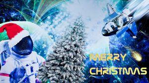 Astronaut Christmas Santa Hat Space Space Shuttle 3200x2148 Wallpaper