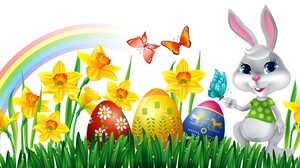 Bunny Butterfly Colorful Daffodil Easter Easter Egg Grass Holiday Rainbow 5036x2373 Wallpaper