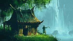 Artwork Fantasy Art Asian Asian Architecture Nature 1920x1080 Wallpaper