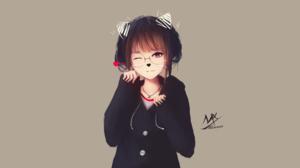Black Hair Girl Glasses Original Anime Red Eyes Short Hair Smile 2560x1440 Wallpaper