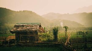 Hut Jungle Rice Paddy Vietnam Mountains Landscape Asia Plants Green Hills 5456x3064 Wallpaper
