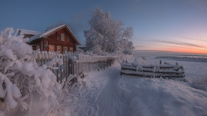 Fence House Russia Snow Winter 1980x1113 Wallpaper