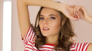 Women Brunette Blue Eyes Striped Tops Hands On Head Face 4493x2995 Wallpaper