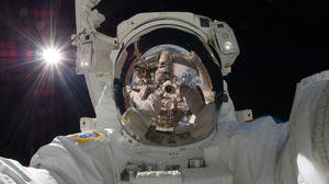 Astronaut Spacesuit Selfies Space Reflection ISS Space Station Helmet NASA Earth International Space 3840x2160 Wallpaper
