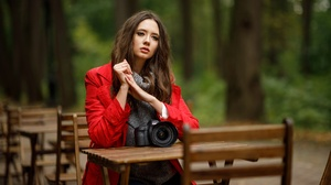 Sergey Sergeev Model Women Brunette Dark Eyes Sweater Coats Camera Sitting Looking Away Raincoat 1920x1280 Wallpaper