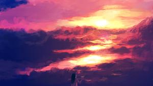 Anime Women Anime Girls Women Outdoors Nature Sky Orange Sky Clouds Sunlight Standing Paper Planes 2000x1600 Wallpaper