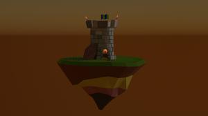 Tower Flag Torches CGi Digital Blender Medieval Meteorite Island Relaxing Brown Background 1920x1080 Wallpaper