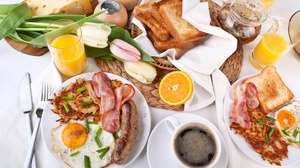 Breakfast Cheese Coffee Egg Meat Sausage Still Life Toast 2290x1527 Wallpaper