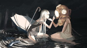 Anime Anime Girls Original Characters Rain Blonde Long Hair Umbrella In Water Clouds Boots Scuba 1920x1166 Wallpaper