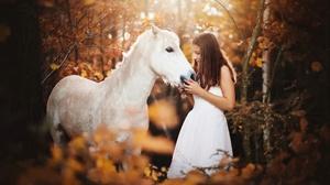 Woman Model Girl Horse Fall White Dress Brunette 2048x1365 Wallpaper