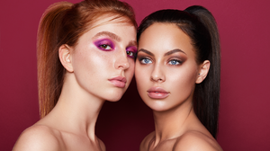 Women Make Up Eyeshadow Blue Eyes Brown Eyes Redhead Brunette Bare Shoulders Lipstick Freckles Eyebr 2800x1867 Wallpaper