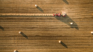 Aerial Field Haystack Summer Tractor Vehicle 2048x1535 Wallpaper