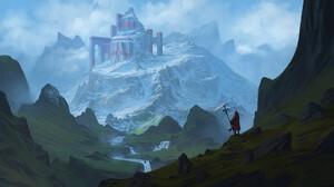 Digital Art Fantasy Art Felix Englund Mountains Castle Ruins Snowy Mountain 1920x1080 Wallpaper