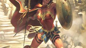 Meghan Hetrick Artwork ArtStation Women Fantasy Art Warrior Fantasy Girl Wonder Woman Spear Shield C 1618x2500 Wallpaper