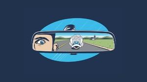 Mario Kart Blue Shell Rearview Mirror Minimalism Video Games Artwork Cyan Humor Blue Background Blue 1200x800 wallpaper
