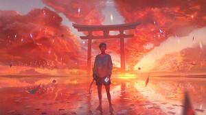 Boy Cloud Reflection Shrine Sky Sunset 1920x1080 Wallpaper