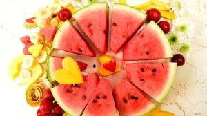 Watermelon Banana Heart Shaped Mango Berry 2048x1365 Wallpaper